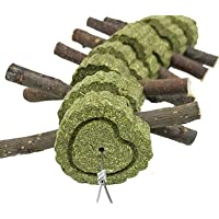 Bunny Chew Toys, Rabbit Toys for Teeth Grinding | Bunny Treats with Organic Apple Wood Sticks and Grass Cakes for Guinea…