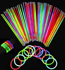 "Description:  This fantasy glow stick is contained 100 8"" glow sticks, 100 connectors.  They will glow bright for 8 - 10 hours., last all night.  Great for Halloween, parties, boy and girl party favors, weddings, camping trips, special events and so ..."