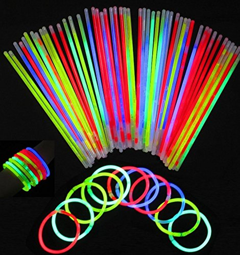 "Price comparison product image Glowsticks Bracelets Neon Light Party Favors Pack of 100, 8"" long, Mixed color with Connectors"