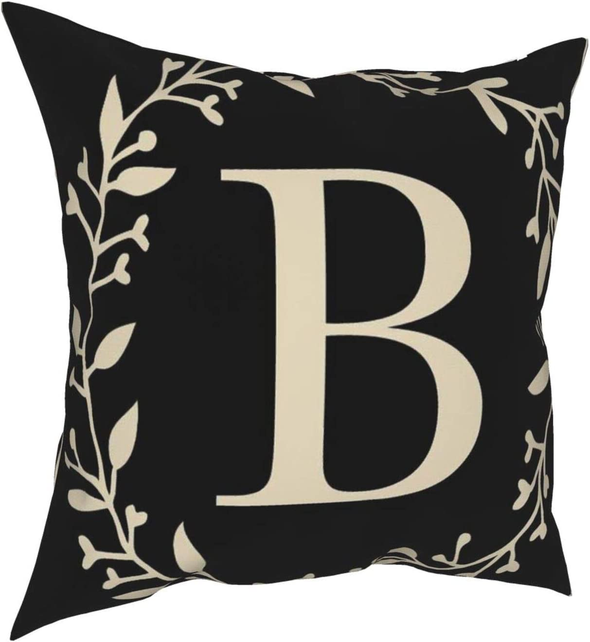 MSGUIDE Classic Monogram Letter B Throw Pillow Cover Decorative Square Pillowcase Super Soft Farmhouse Cushion Case 18x18 Inches for Sofa Couch Bed Home Decoration