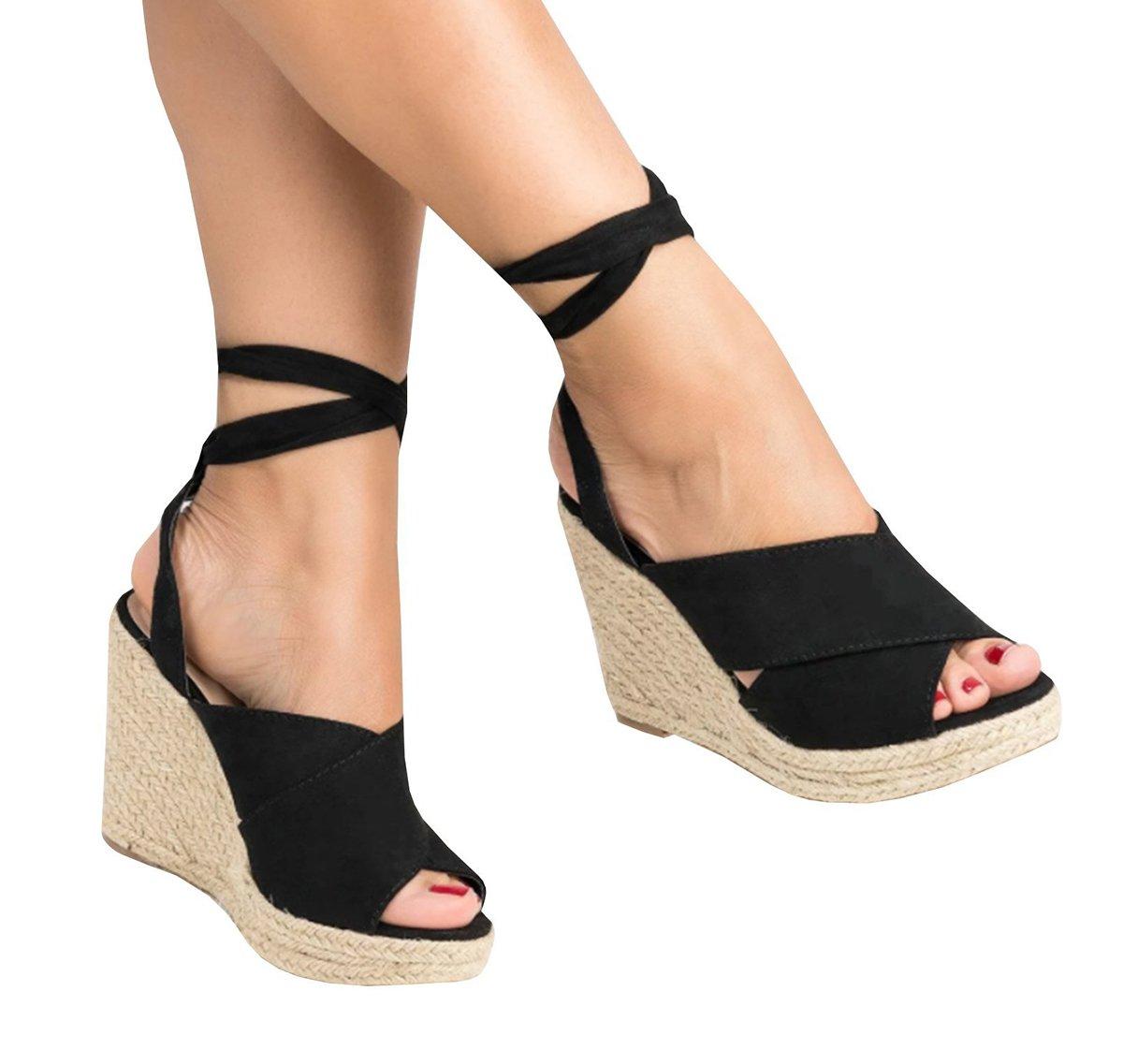50af839375112 Fashare Womens Tie Lace Up Peep Toe Espadrille Platform Wedges ...