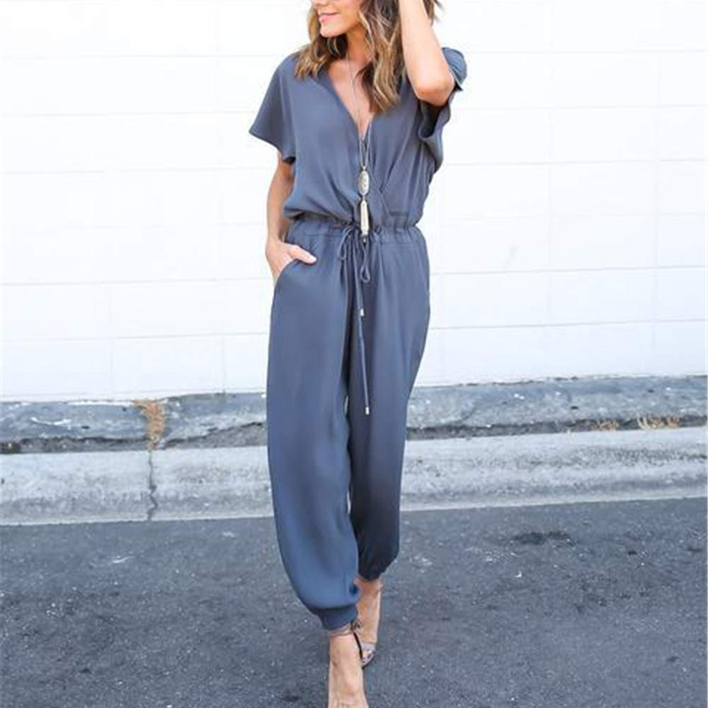 Likarulla Jumpsuit Donna,Tuta Donna Elegante Estivi Tute Tutine da Sera Spiaggia Lunga V Scollo Manica Corta Tulle Jumpsuit Business Party Casual Chiffon Maniche Corte Playsuits