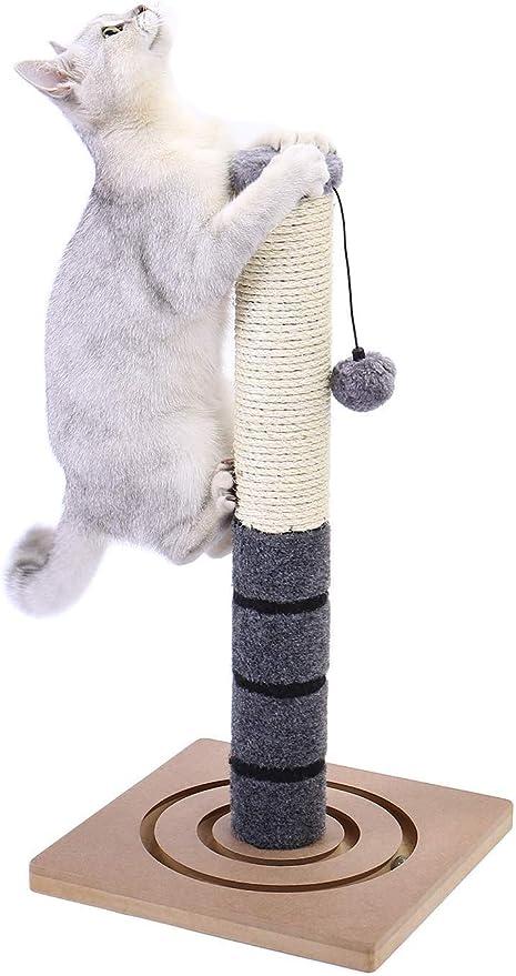 PAWZ Road Gatos Rascadores Muebles Postes Cuerda sisal Rascador Scratcher Juguetes interactivos de Poste de Felpa con Centro Actividad Adicional de Bola Colgante Gatitos pequeños 54cm Gris: Amazon.es: Productos para mascotas