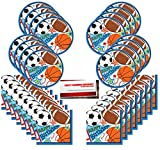 Sports Party Basketball Baseball Football Soccer Supplies Bundle Pack for 16 Guests (Plus Party Planning Checklist by Mikes Super Store)