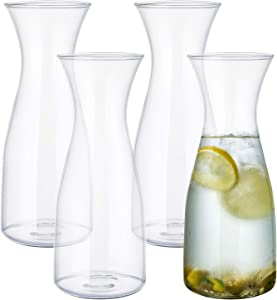 Yarlung 4 Pack 34 Oz Glass Carafe Set, Tall Milk Glass Bottle Beverage Jug for Water Jar, Lemonade Pitcher, Wine Decanter, Cold Drink, Narrow Neck Wide Mouth