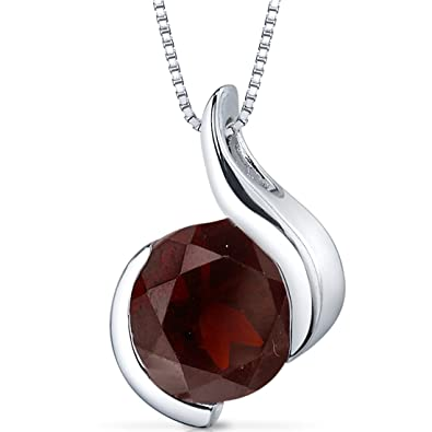 Amazon garnet pendant sterling silver rhodium nickel finish garnet pendant sterling silver rhodium nickel finish bezel set 250 carats aloadofball Images