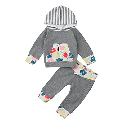 Memela Buy The Outfit 2 Pieces Baby Girls Boys Striped Hoodie Tops Pants Clothing Set 0-24 Mos