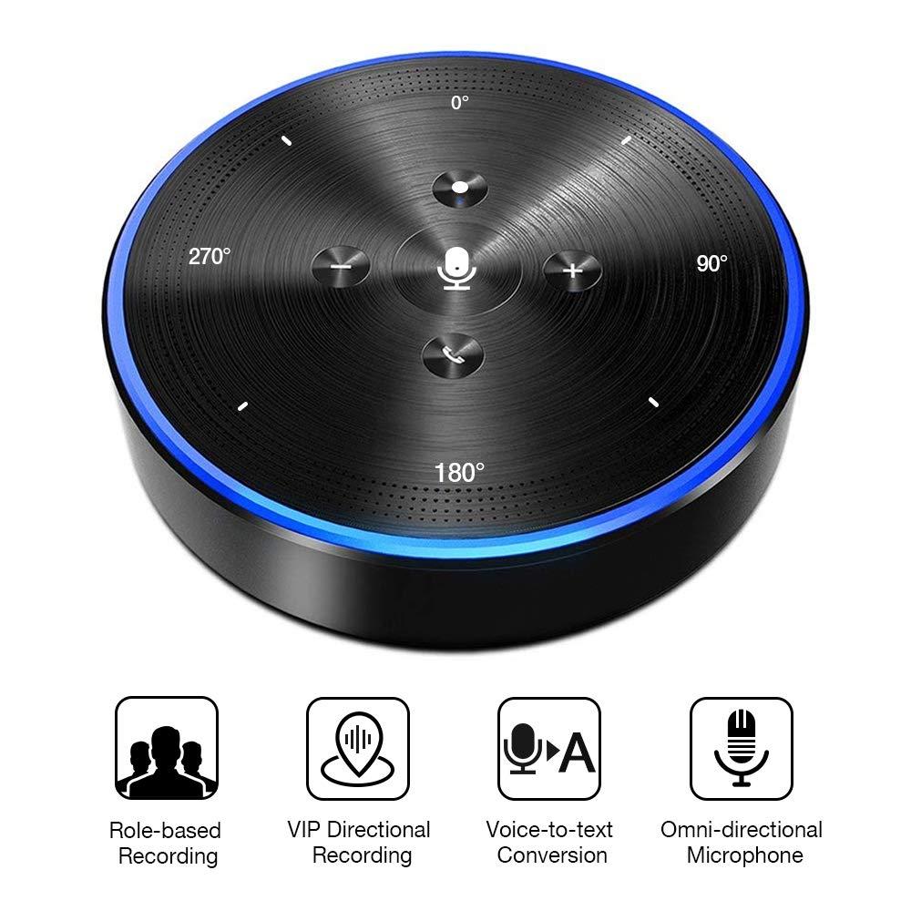Smart Bluetooth Speakerphone - eMeet Note N1 32GB WiFi Conference Speaker Role-Based & VIP Directional Recording, Voice-to-Text, 4 AI omnidirectional Microphones 360° Voice Pickup, skype Speakerphone