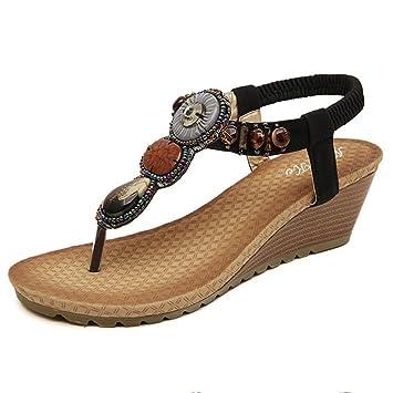 Elecenty Sandalen Schuhe Schuh Sommerschuhe Bequeme Sandaletten Sommer Zehentrenner Sandalen Offene Weich Flache Badesandalette Strass Outdoor Beiläufig Strandschuhe (39, Schwarz)