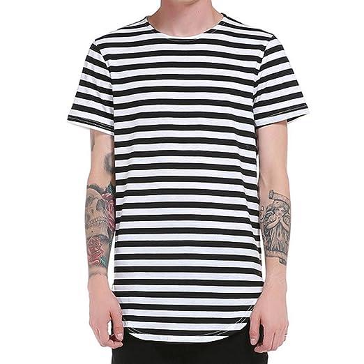 Camiseta de Manga Corta para hombre Camisa de hombre Tops a rayas de manga corta Camiseta