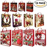 The Twiddlers 12 Pack Assorted Christmas Printed Gift Bags with Handles and Matching Holiday Tags - Drawstring Xmas Paper - Modern Traditional Festive Designs