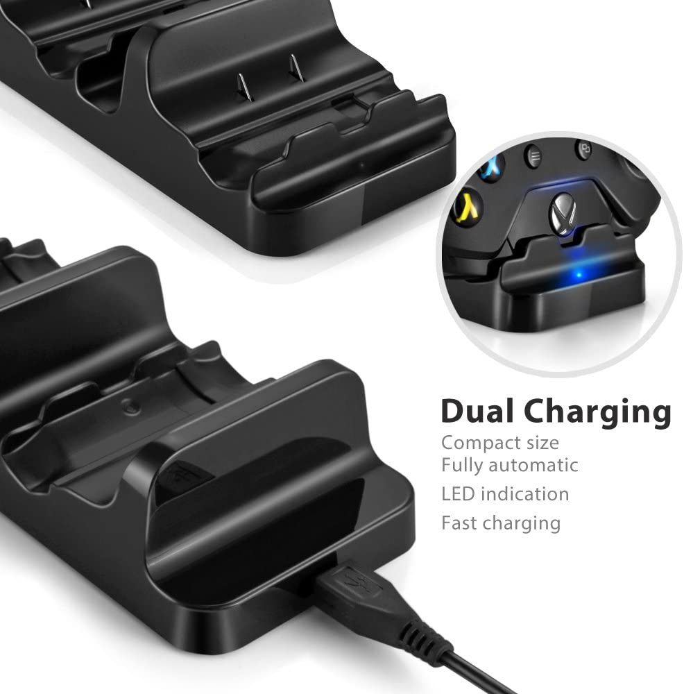 Xbox One S X Dual Charging Dock Charger Station with 2 Rechargeable Batteries and USB Cable Wireless Controller Obvis Xbox One