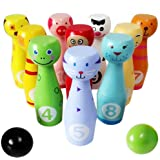 Lewo Large Wooden Bowling Set Kids Skittles Toys for Toddlers with 10 Animal Pins 2 Balls