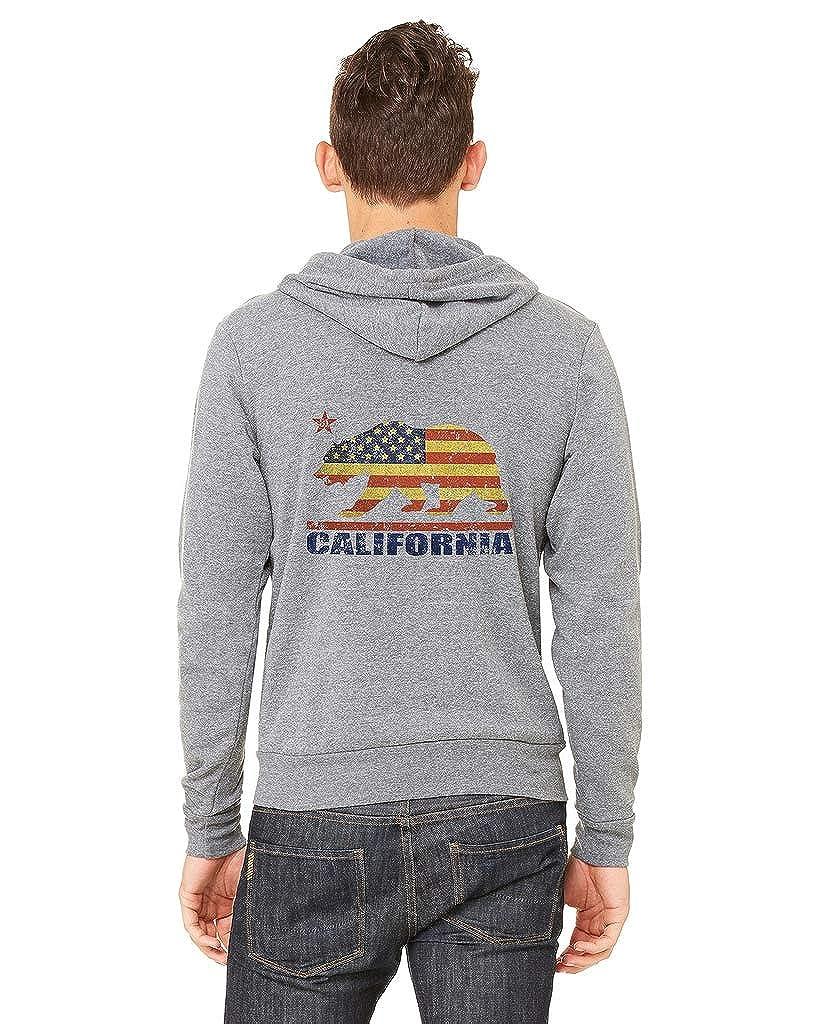 Interstate Apparel Mens California Bear USA Flag C9 Gray Fleece Zipper Hoodie Gray