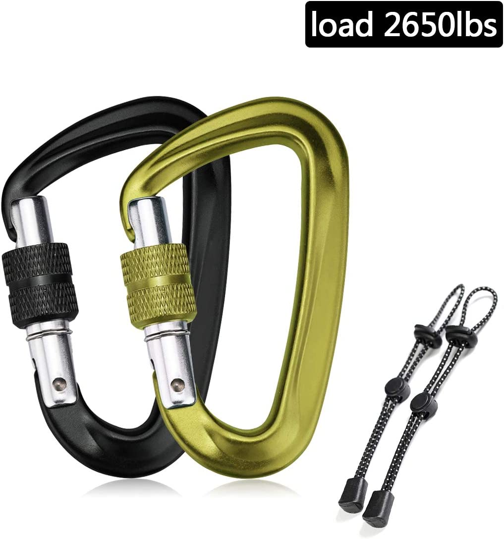 2Pcs Locking Carabiner Clips,12KN 2650 lb Heavy Duty Carabiners with 2Pcs Adjustable Backpacks Elastic Rope,Twist Lock D Shap Clips for Outdoor Camping Hiking Traveling Backpacking