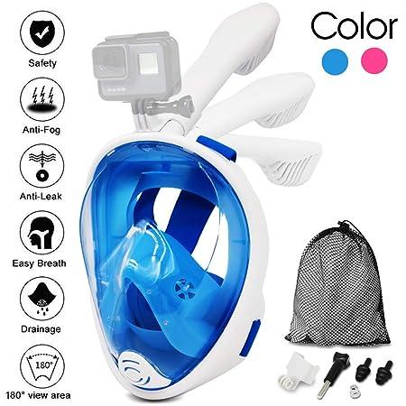 Jasonwell Panorama Vollmaske Schnorchelmaske Tauchmaske Vollgesichtsmaske mit 180° Sichtfeld, Dichtung aus Silikon Anti-Besch