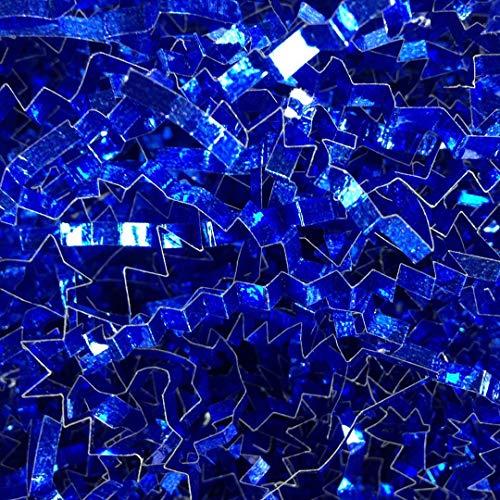 Gift Blue Basket (Black Cat Avenue 1 LB Royal Blue Metallic Crinkle Cut Shred Filler for Gift Wrap and Basket Filler)