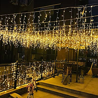 MZD8391 216 LED 36 Icicle Curtain String Light, Indoor Outdoor Decoration for Festival Wedding Party Living Room Bedroom Patio Garden, Warm White [ END TO END CONNECTABLE] - ❤ 5 SETS END TO END CONNECTABLE & PLUG-PLAY FAIRY STRING LIGHTS: Plug and play icicle string lights, effortless to set up. Easily extendable design, connect to up to 5 sets for different usage and decoration needs. Comes with an extra female plug at the end of each set for extension, can be connected to up to 10 sets of light strings at a single run to fulfill different length requirements. ❤ MULTI-SETTINGS & USER-FRIENDLY: Memorize the last light setting even when powered off. 8 different light settings to choose from 1. Combination 2. In waves 3. Sequential 4. Slo- glo 5. Chasing/Flash 6. Slow fade 7. Twinkle/Flash 8. Steady on ❤ WIDE APPLICATION: Our icicles curtain light is the perfect lighting decor in your daily life, suitable for indoor (without direct direct exposure to water). This blinking light strings can be used for weddings, festivals, Christmas, party decorations or simply use it around in the house. It will provide a twinkling sparkly effect, just like your very own personal galaxy. - patio, outdoor-lights, outdoor-decor - 61qaoDS6apL. SS400  -