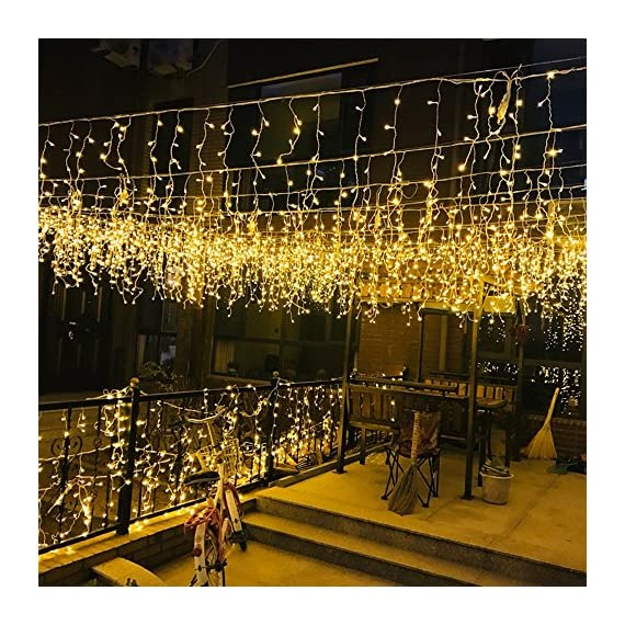 MZD8391 216 LED 36 Icicle Curtain String Light, Indoor Outdoor Decoration for Festival Wedding Party Living Room Bedroom Patio Garden, Warm White [ END TO END CONNECTABLE] - ❤ 5 SETS END TO END CONNECTABLE & PLUG-PLAY FAIRY STRING LIGHTS: Plug and play icicle string lights, effortless to set up. Easily extendable design, connect to up to 5 sets for different usage and decoration needs. Comes with an extra female plug at the end of each set for extension, can be connected to up to 10 sets of light strings at a single run to fulfill different length requirements. ❤ MULTI-SETTINGS & USER-FRIENDLY: Memorize the last light setting even when powered off. 8 different light settings to choose from 1. Combination 2. In waves 3. Sequential 4. Slo- glo 5. Chasing/Flash 6. Slow fade 7. Twinkle/Flash 8. Steady on ❤ WIDE APPLICATION: Our icicles curtain light is the perfect lighting decor in your daily life, suitable for indoor (without direct direct exposure to water). This blinking light strings can be used for weddings, festivals, Christmas, party decorations or simply use it around in the house. It will provide a twinkling sparkly effect, just like your very own personal galaxy. - patio, outdoor-lights, outdoor-decor - 61qaoDS6apL. SS570  -