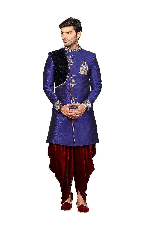 Indian Women Sarees IWS Mens Indo Western Wedding Blue Designer Partywear Traditional R-25431