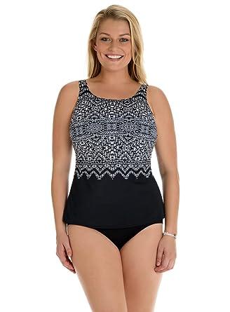 011f284827e87 Longitude Safari Night Highneck Long Torso Tankini at Amazon Women s  Clothing store