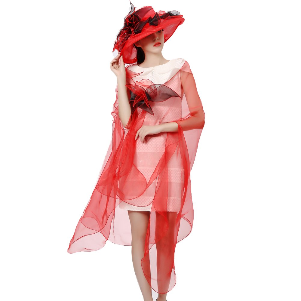 June's Young Women Race Hats Organza Hat with Ruffles Feathers (red Black)