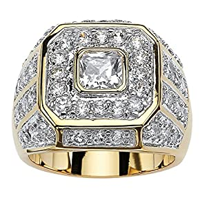 Best Epic Trends 61qaovzJYlL._SS300_ Palm Beach Jewelry Men's 14K Yellow Gold Plated Square Cut Cubic Zirconia Octagon Ring