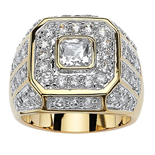 Octagon Cut Ring (Men's Square-Cut and Round White Cubic Zirconia 14k Gold-Plated Multi-Row Octagon Ring Size 8)