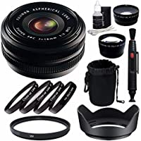Fujifilm 18mm f/2.0 XF R Lens + 52mm +1 +2 +4 +10 Close-Up Macro Filter Set with Pouch + 52mm Multicoated UV Filter + 52mm Wide Angle Lens + 52mm 2x Telephoto Lens with pouch Bundle 6