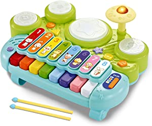 fisca 3 in 1 Musical Instruments Toys, Electronic Piano Keyboard Xylophone Drum Set - Learning Toys with Lights for Baby & Toddler 1 2 3 Year Old Boys and Girls