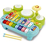 fisca 3 in 1 Musical Instruments Toys, Electronic Piano Keyboard Xylophone Drum Set - Learning Toys with Lights for Baby…