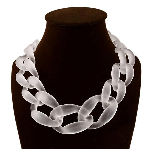 Qiyun.Z 18K Gold Leopard Print Resin Round Circle Link Bib Choker Collar Necklace j17ea3O