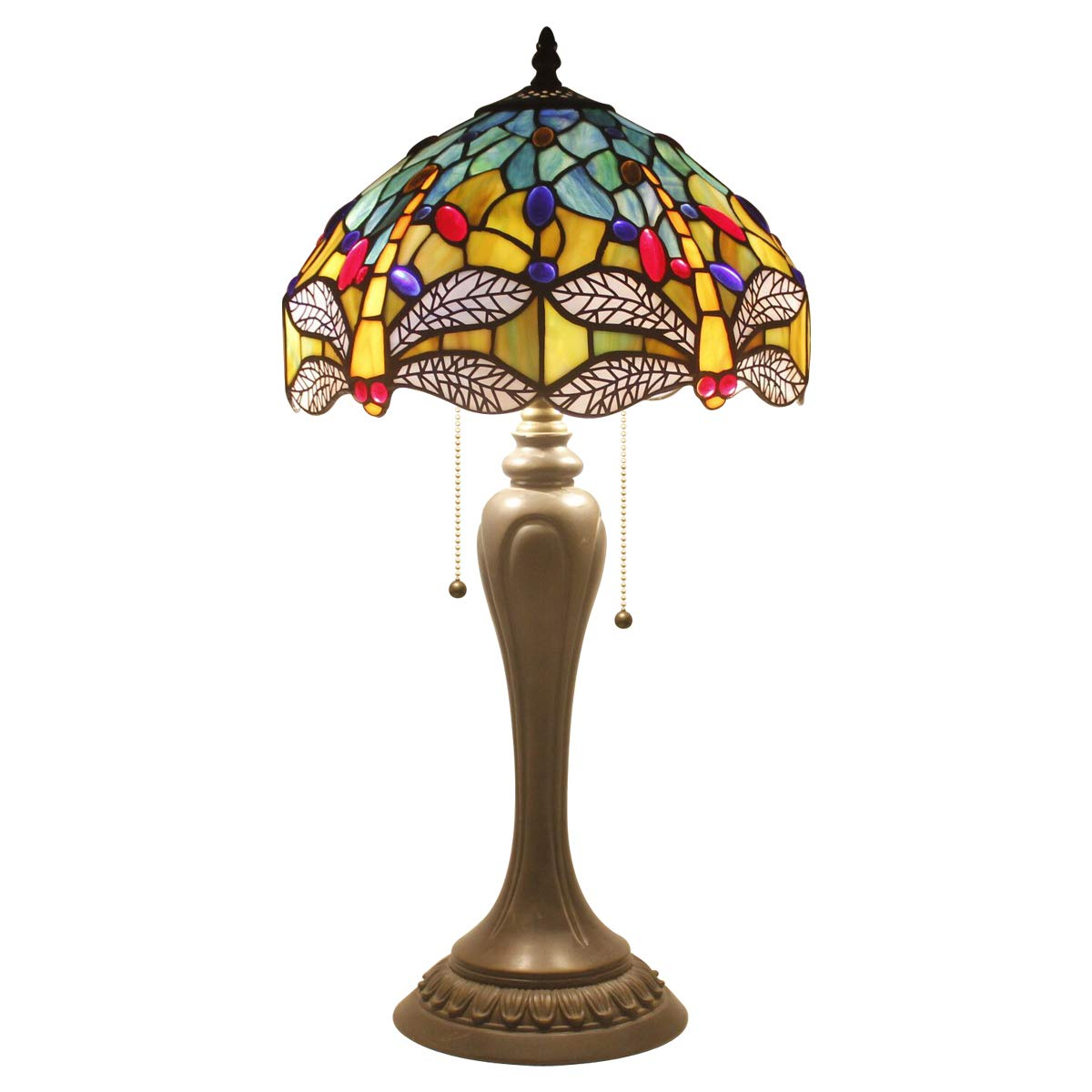 Tiffany Lamp Sea Blue Yellow Stained Glass and Crystal Bead Dragonfly Style Table Lamps Wide 12 Height 22 Inch for Living Room Antique Desk Beside Bedroom S128 WERFACTORY