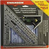 Swanson Tool S0101CB Escuadra Rápida con Libro y Escuadra Combinada, Paquete Económico