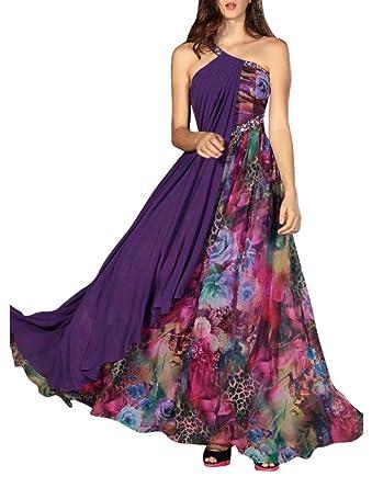 Kingmalls Womens one shouder beaded indian evening Dress (XX-Large)