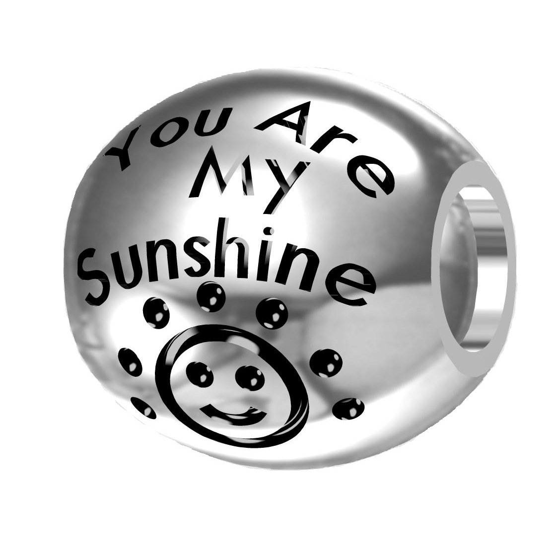 ''You are My Sunshine, My Only Sunshine'' 925 Silver Bead Fit European Brand Charms
