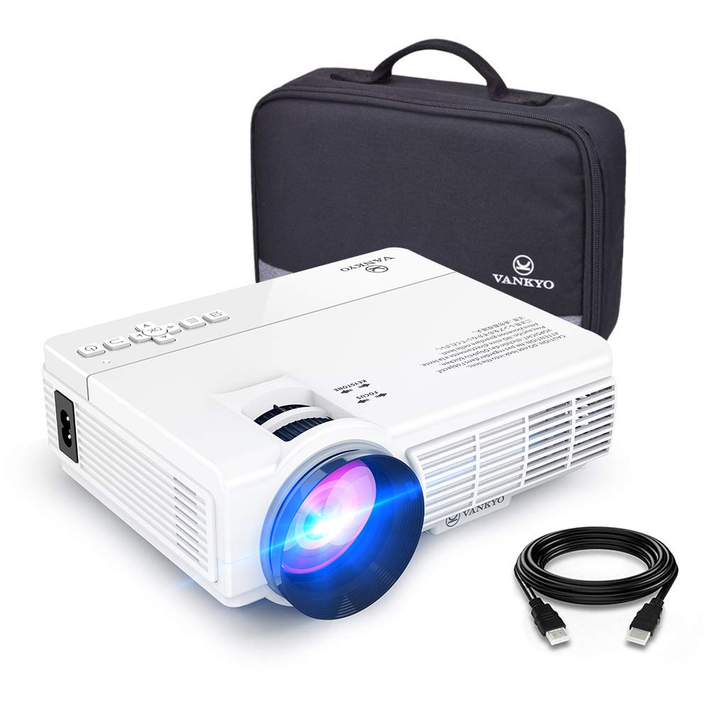 """VANKYO LEISURE 3 Mini Projector, 1080P and 170"""" Display Supported, Portable Movie Projector with 40,000 Hrs LED Lamp Life, Compatible with TV Stick, PS4, HDMI, VGA, TF, AV and USB"""