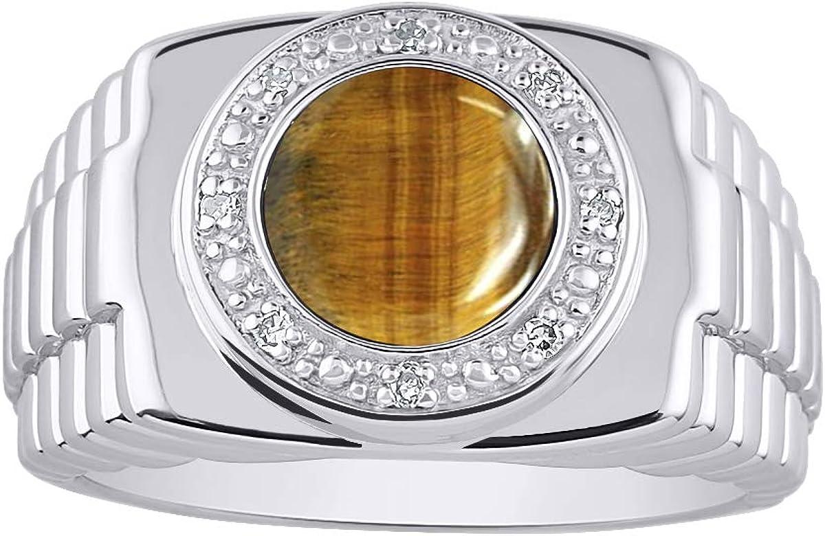 RYLOS - Anillo para hombre con forma redonda de ojo de tigre cabujón y diamantes brillantes auténticos en plata de ley 925-10 mm piedra de color - estilo de diseñador