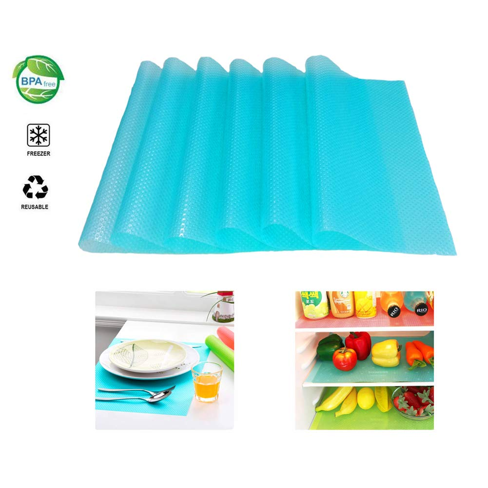 Refrigerator Shelf Liners 6PCS EVA Shelf Liners Can Be Cut Washable Refrigerator Pad Mat Fridge Cushion Liner Non-Adhesive Cupboard Liners Non-Slip Cabinet Drawer Table Liners - (Blue,29x45cm)