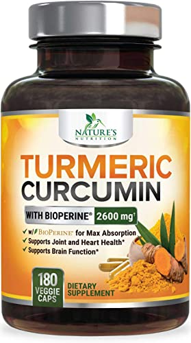Turmeric Curcumin with Bioperine 95 Curcuminoids 2600mg with Black Pepper for Best Absorption, Made in USA, Best Vegan Joint Support, Turmeric Supplement Pills by Natures Nutrition – 180 Capsules