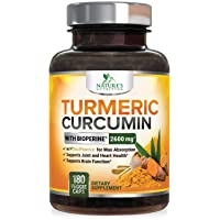 Turmeric Curcumin with Bioperine 95% Curcuminoids 2600mg with Black Pepper for Best Absorption, Made in USA, Best Vegan Joint Support, Turmeric Supplement Pills by Natures Nutrition - 180 Capsules
