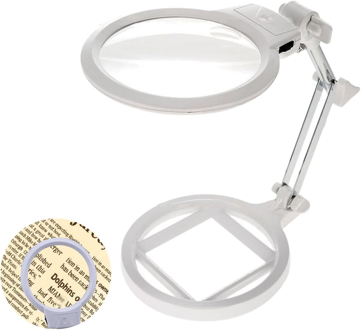 Large Magnifying Glass with Stand, Chof 2X 6X LED Lighted Magnifier Desk Lamp, Hands Free for Low Vision Reading, Jewelry Design, Needlework, Crafts, Study Stamps (Desktop)