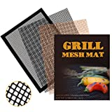 TinaWood 3PCS Non Stick Reusable BBQ Mesh Grill Mats for Grilled Vegetables/Fish/Fajitas/Shrimp Works on Gas, Charcoal, Electric Barbecue