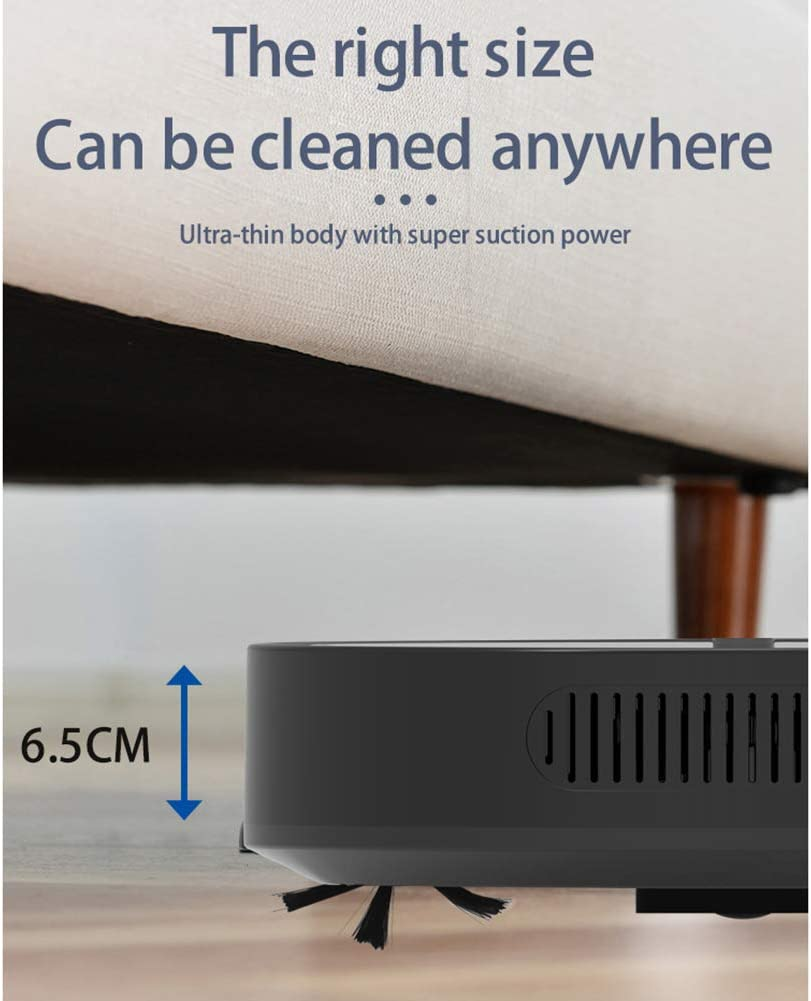 WFFH Robot Aspirateur Intelligent, 1800Pa Aspiration avec Nettoyage Humide pour la Maison, 400ML Grande poussière Box, pour Animaux, Hairs sols durs et Tapis, etc,Noir White