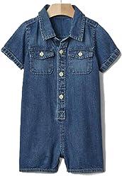 7a577bb59 Baby Gap Boys Blue Denim Shortie Romper 3-6 Months