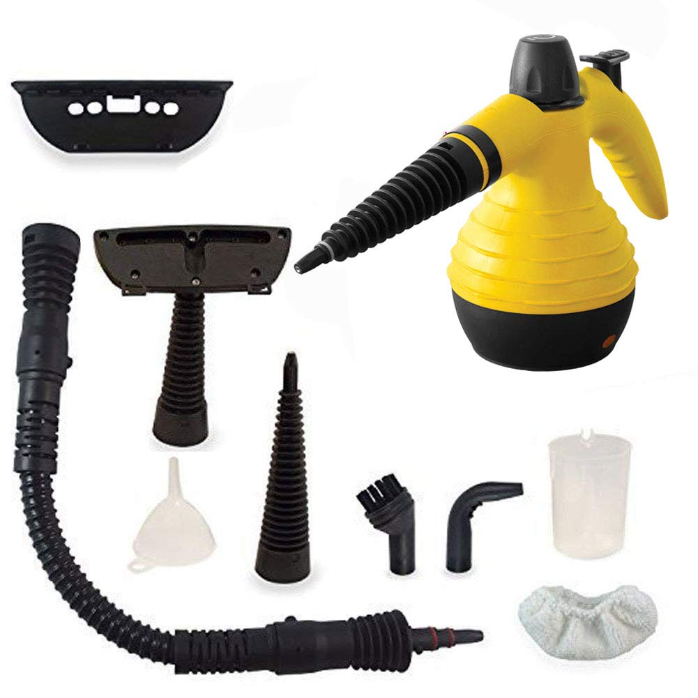 Q&Z Handheld Steam Cleaner,Multi-Purpose Pressurized Steamer Mop with 9 Accessories for Stain Removal Windows Carpets Curtains Garment Car Seats Yellow