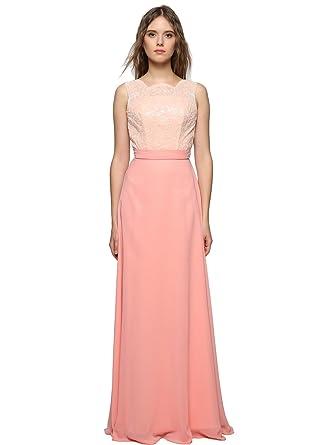 GEORGE BRIDE Rosa Pailletten Chiffon lange Abendkleid Partykleid ...