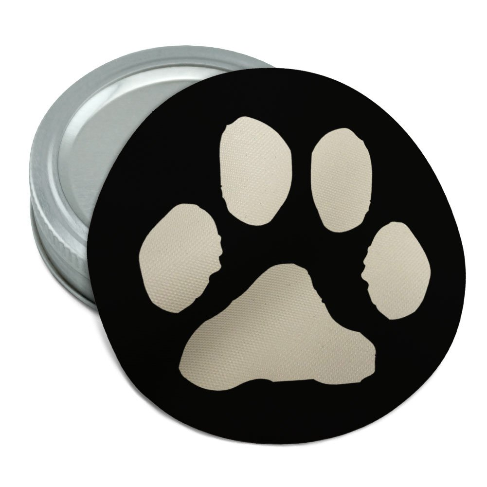 Paw Print Pet Dog Cat B&W Round Rubber Non-Slip Jar Gripper Lid Opener Graphics and More