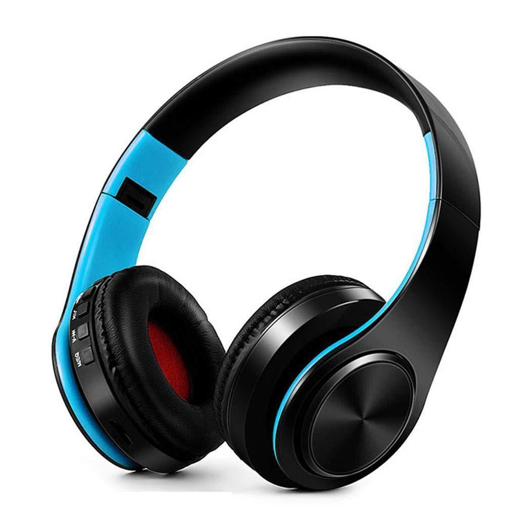 Asatr Bluetoothヘッドフォン オーバーイヤー ノイズキャンセリングステレオワイヤレスヘッドセット Bluetooth 4.1 ワイヤレスヘッドホン ヘッドセット マイク PC/携帯電話/TV 5645234237  ブルー-ブラック B07JN3WCWD