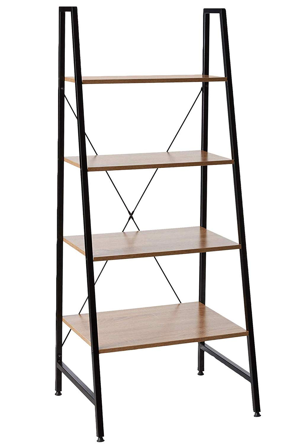 Offex Home Office Black Steel Frame Ladder Bookcase With Wooden Shelves